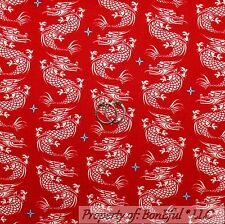 BonEful Fabric Cotton Quilt VTG Red White Blue Asian DRAGON Tattoo Chinese SCRAP
