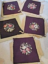 Set of 5 Vintage NEEDLEPOINT CHAIR FOOT STOOL FLOWERED CUSHIONS COMPLETED
