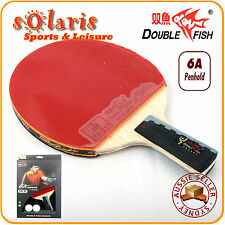 Double Fish 6A Table Tennis Bat Ping Pong Racket & 2 Balls Set Penhold Handle