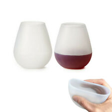 2pcs Silicone Beer Cup Wine Glasses Drinking Unbreakable Stemless Bar Drinkware