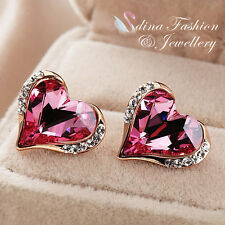 18K Rose Gold Plated Swarovski Crystal Charming Pink Heart Stud Earrings