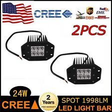 2pcs 24W Cree LED Work Light bar Spot Driving fog Lamp Flush Mount Boat UTE US