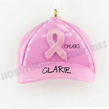 Breast Cancer Pink Ribbon Hat Personalized Christmas Tree Ornament