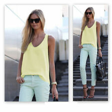 Womens Summer Loose Casual Chiffon Blouse Sleeveless Vest Shirt Tops Ladies Cami