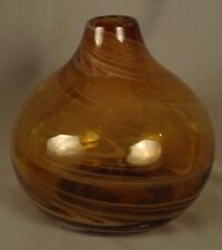 """Orb-Shaped Amber Vase - 6 1/2"""" Tall"""