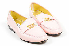 Escada Pink Leather Cross Stitched Heart Detail Loafers SZ 7