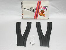 """AURORA AFX 9"""" Y TRACKS ~ PAIR W/HRDWR IN BOX ~ VN COND ~ NO BROKEN TABS ~ RARE!!"""