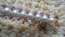 18k White Gold Vintage Pearl Pink Saphire Brooch