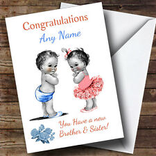 Cute You Have Twin Brother & Sister Vintage Personalised New Baby Greetings Card