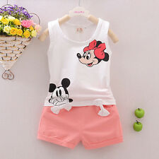 Mickey Mouse Kids Girls 2Pcs Clothes Sleeveless T-shirt Tops+Trousers Outfits