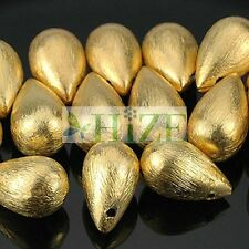 HIZE BV173 Vermeil Gold Plated Brushed Teardrop Drop Beads 8mm (8)