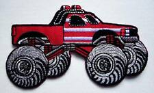 4x4 BIGFOOT TRUCK RED Embroidered Iron on Patch Free Postage