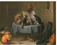 Carte postale: chats concert. peinture de David teniers D. J, 1635