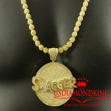 ICE OUT 3D GOLD FINISH CANARY LAB DIAMOND SWAGGER PENDENT FLOWER NECKLACE CHAIN