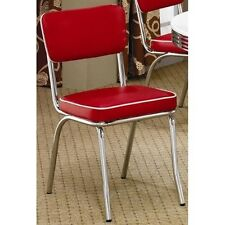 Retro Kitchen Chairs Set Of 2 Dining Patio Chrome Plated 1950s Diner Style Seats