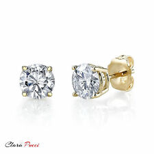 1 CT Round Cut A+ CZ Yellow Sterling Silver Solitaire Stud Earrings Push Back RP