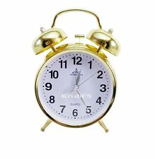 Vintage Golden 3 Inch displayMetal Body Twin Bell Alarm Table Clock & Back Light