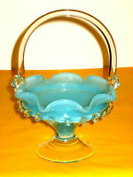 VINTAGE MURANO MILKY BLUE/CLEAR GLASS VASE/BASKET    (0.7/322A)