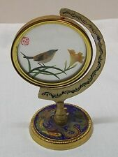 Stitched Bird Turning Picture Enamel and Metal Dragon Phoenix Marked Vintage