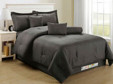 7-Pc Elegant Classic Damask Stripe Soft Plush Comforter Set Dark Gray Grey Queen