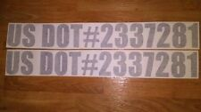 """US DOT Numbers Decals Pair 3"""" any color stickers Department of transportation"""