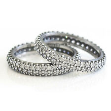 PAVE Size 8.5 Solid Sterling Silver Cubic Zirconia Oxidized Stacking Ring Band