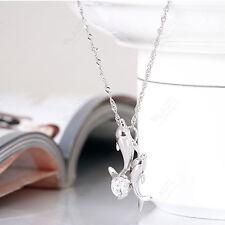 Doube Dauphin strass courte chaîne pendentif collier Bijoux mignon Plaqué Argent