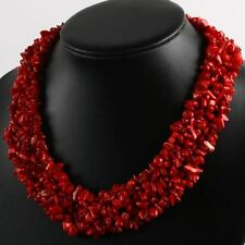 "1PC 18""L Manmade Red Coral Freeform Chip Gemstone Beads Necklace Womens Jewelry"