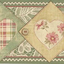 Country Patchwork Fabric Heart Floral - Gold Green ONLY $8 Wallpaper Border A450
