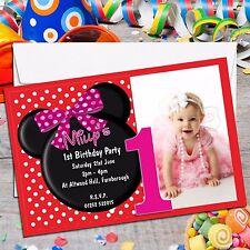 10 Personalizzata Ragazze mouse 1st Primo Festa Di Compleanno Foto inviti N147