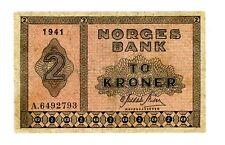 """Norway ... P-16a1 ... 2 Kroner ... 1941 ... *F+* ... Prefix """"A"""""""