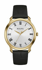 New Bulova 97A123 Stainless Gold Tone Genuine Black Leather Strap Men's Watch