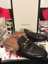 Gucci Princetown Horsebit Fur Slippers Flats Mules Loafers black 36.5 6.5