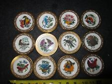 Set of 12 Vintage Franklin Porcelain State Birds & Flowers Miniature Plates 1979