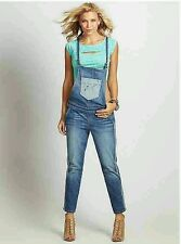 GUESS DENIM OVERALL RELAXED SLIM FIT STRAIGHT LEG WITH TUXEDO STRIPES SIZE 27