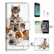 "iPhone 6 Plus (5.5"") Print Flip Wallet Case Cover! Pussy Cat on Puppy Dog P1495"