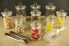 9 SET Lolly Buffet Jar Kit Apothecary Lollie Glass Wedding Party tongs Scoops
