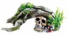 Classic Aquarium Wood with Skull & Plants Ornament Fish Tank Decoration