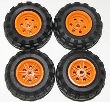 LEGO LOT OF 4 NEW 56 X 26 BALLOON TIRES WITH ORANGE 6 PINHOLE HUBS CAR TRUCKS