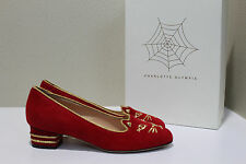 New sz 8 / 38 Charlotte Olympia Red Suede Gold Kitty Cat Face Low Heel Pump Shoe
