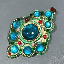 Vintage RUTH BUOL Mod Modern Enamel Fused Peacock Glass Copper Pendant Necklace