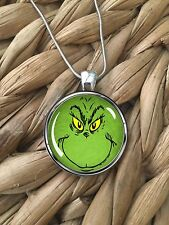 Dr Seuss How The Grinch Stole Christmas Glass Pendant Silver Chain Necklace NEW