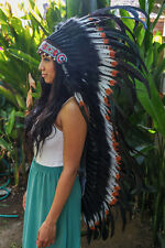 INDIAN HEADDRESS Brown Tips Chief War bonnet Costume Native American Halloween