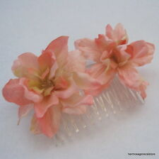 Double Peach Apple Blossom  Silk Flower  Hair Comb,Bridal, Luau, Party,Wedding
