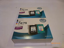 QTY 2 - OfficeMax Remanufactured Black&Color Ink Cartridges Replacement HP 74/75