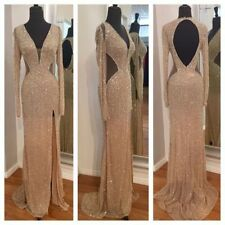 Sequins Long Mermaid Split Evening Dress  Made of Honor Formal Pageant Prom Gown