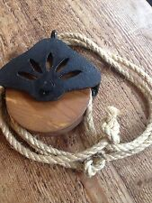 Primitive Wood & Cast Iron pulley HANGING Vintage Style INDUSTRIAL Decor