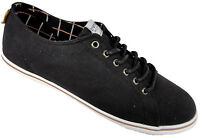 Mens Boys Canvas Lace Up Black Pump Trainers Deck Shoes