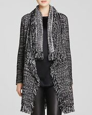 NWT $495 VINCE FRINGED DRAPE FRONT WOOL TWEED CARDIGAN, SIZE LARGE
