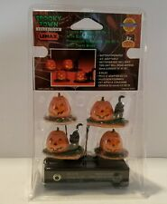 Lemax Spooky Town Lighted Pumpkin with Black Cats set of 4 2000 Item # 04470 NIB